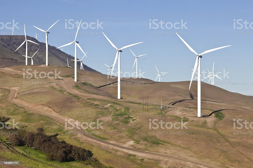 Wind Turbines On Hillside Over Columbia Gorge royalty-free stock photo