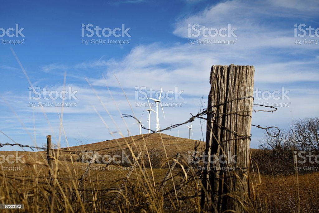 Wind Turbines on Hilltop royalty-free stock photo