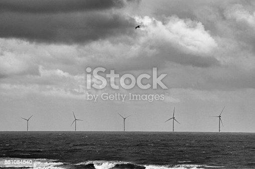 North Sea wind turbine farm off the coast of Whitley Bay.