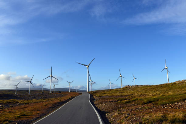 wind turbines - imagean faroe islands stock photos and pictures