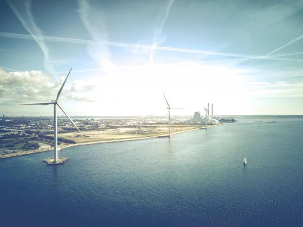 vindkraftverk - drone copenhagen bildbanksfoton och bilder