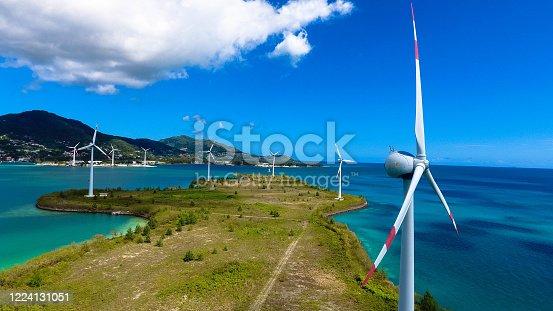 Aerial view of Mahe Island Seychelles. Wind turbines near Victoria