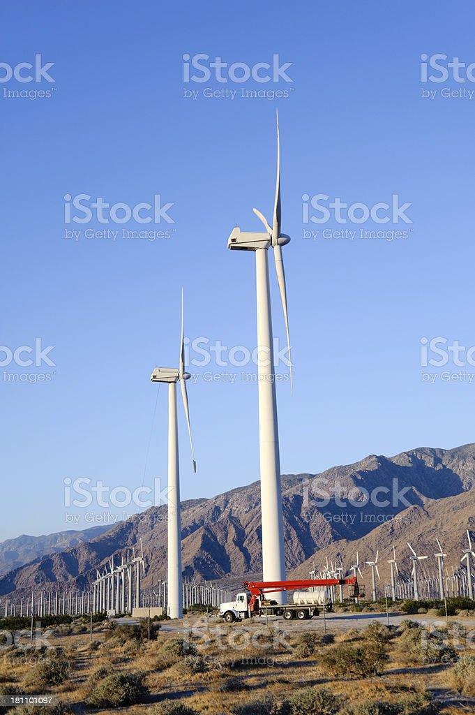 wind turbines repair truck royalty-free stock photo