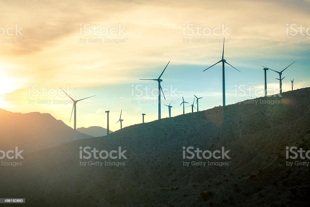 Wind Turbines, San Gorgonio Pass Wind Farm At Sunset stock photo