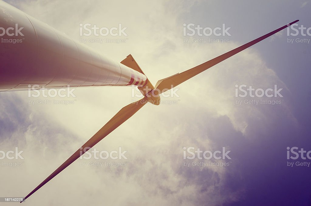 Wind Turbines seen from below royalty-free stock photo