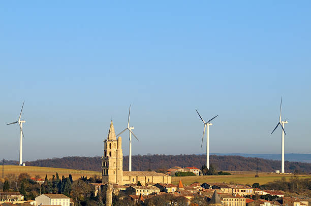 wind turbines three stock photo