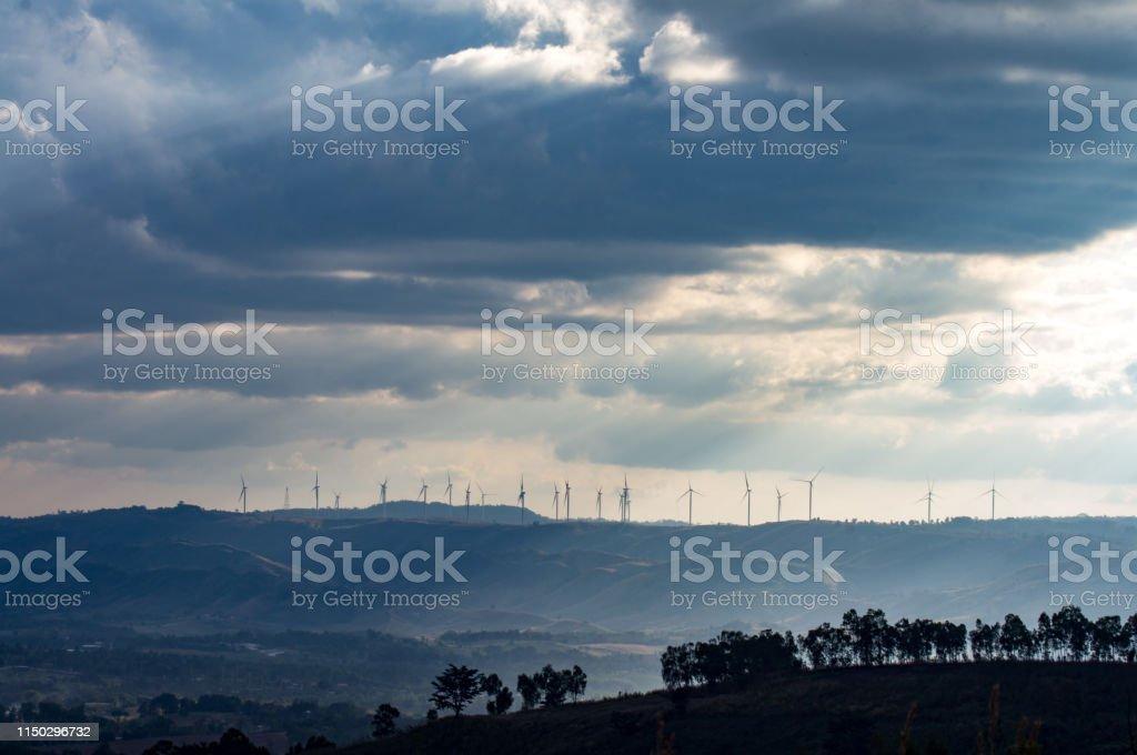 Wind turbines. Wind power generators. Alternative energy, reduce...