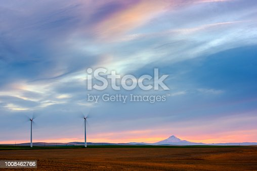 Mt Hood and wind turbines