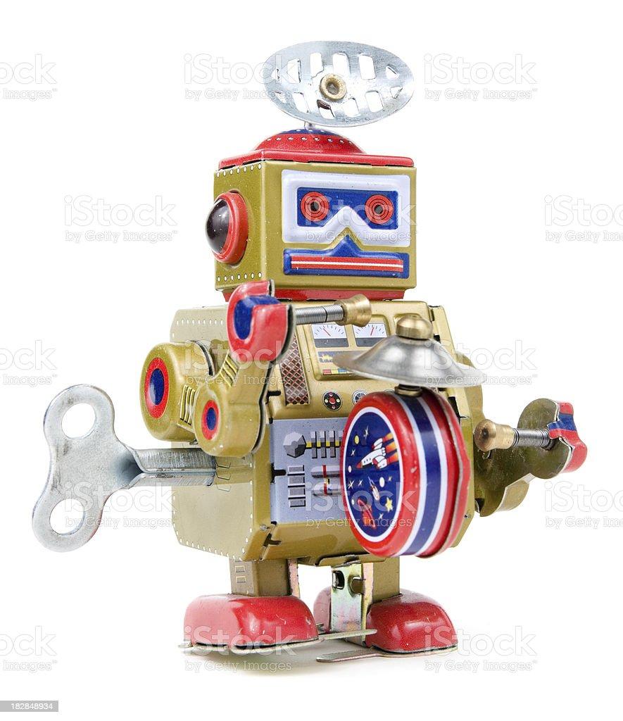 Wind-up vintage Spielzeug-Roboter auf weißem Hintergrund – Foto