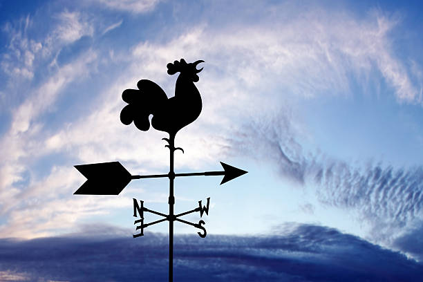 XXXL wind vane silhouette rooster wind vane in silhouette at sunrise (XXXL) weather vane stock pictures, royalty-free photos & images