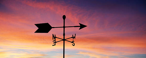 "XXL wind vane silhouette ""wind vane in silhouette at sunrise, panoramic frame (XXL)"" weather vane stock pictures, royalty-free photos & images"