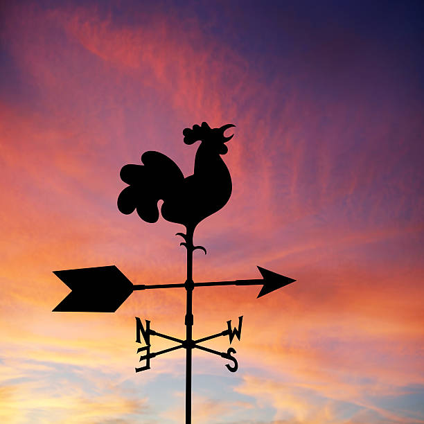 XXL wind vane silhouette rooster wind vane in silhouette at sunrise, square frame (XXL) weather vane stock pictures, royalty-free photos & images