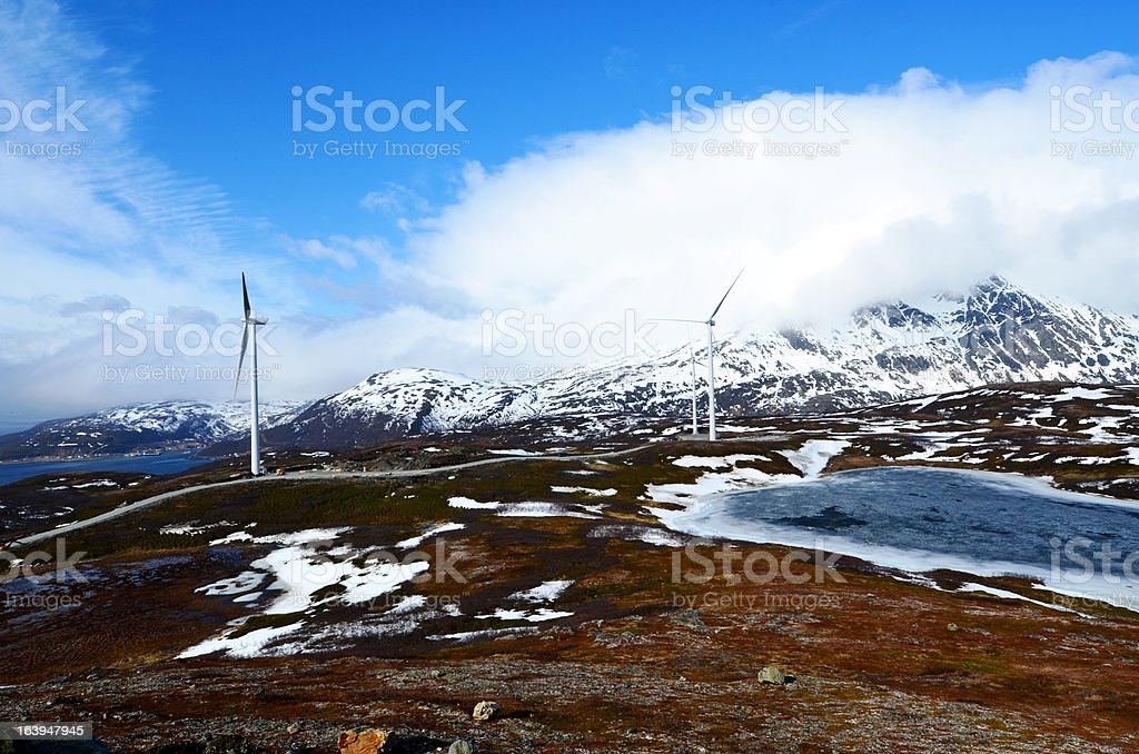 wind wheels in norway royalty-free stock photo