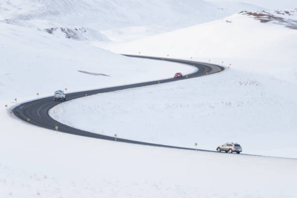 Windding road on Golden circle route highway 1 of iceland in winter stock photo