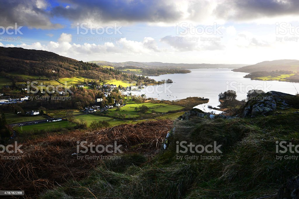 Windermere from Todds Crag on Loughrigg Fell stock photo