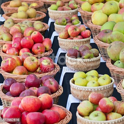 istock Windfall and picked apples on display in the Autumn 672962816