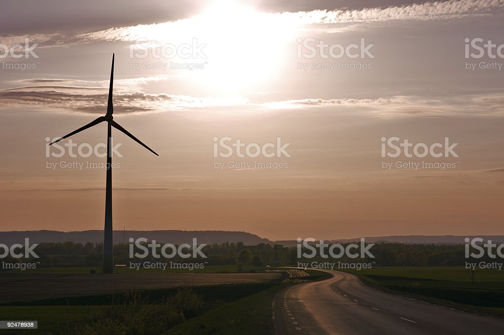 Wind-farm at sunset royalty-free stock photo