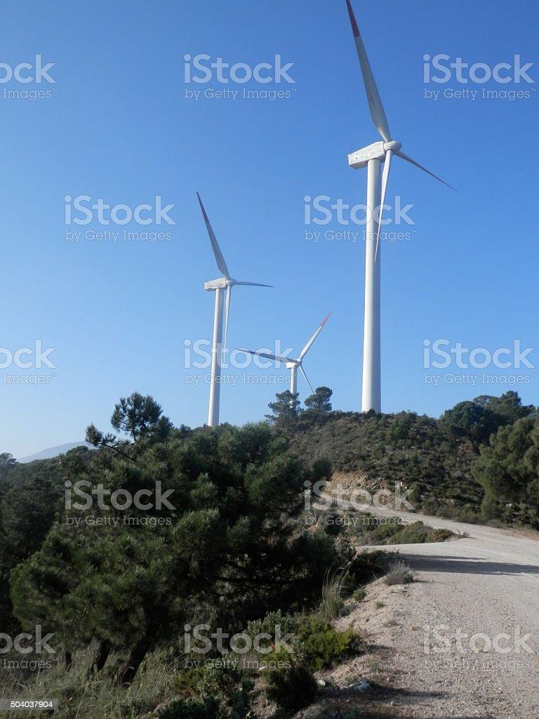 Windfarm on Hill stock photo