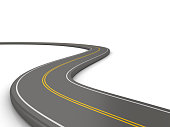 Winding 3D Road with - White Background - 3D Rendering