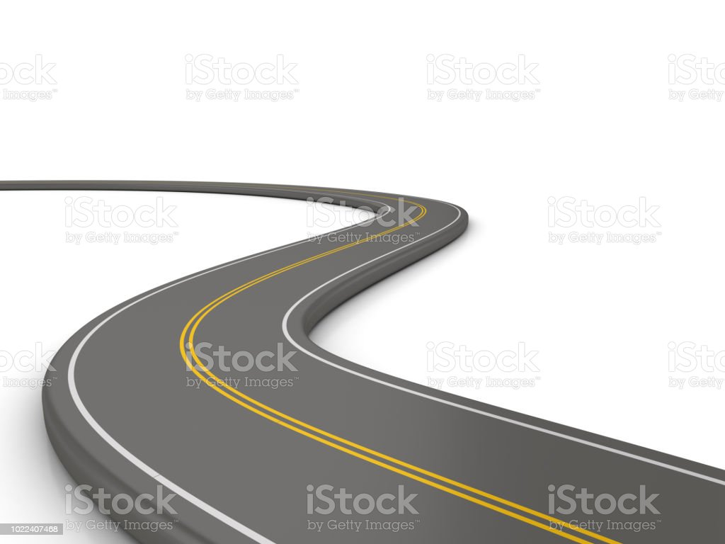 Winding 3D Road - 3D Rendering stock photo