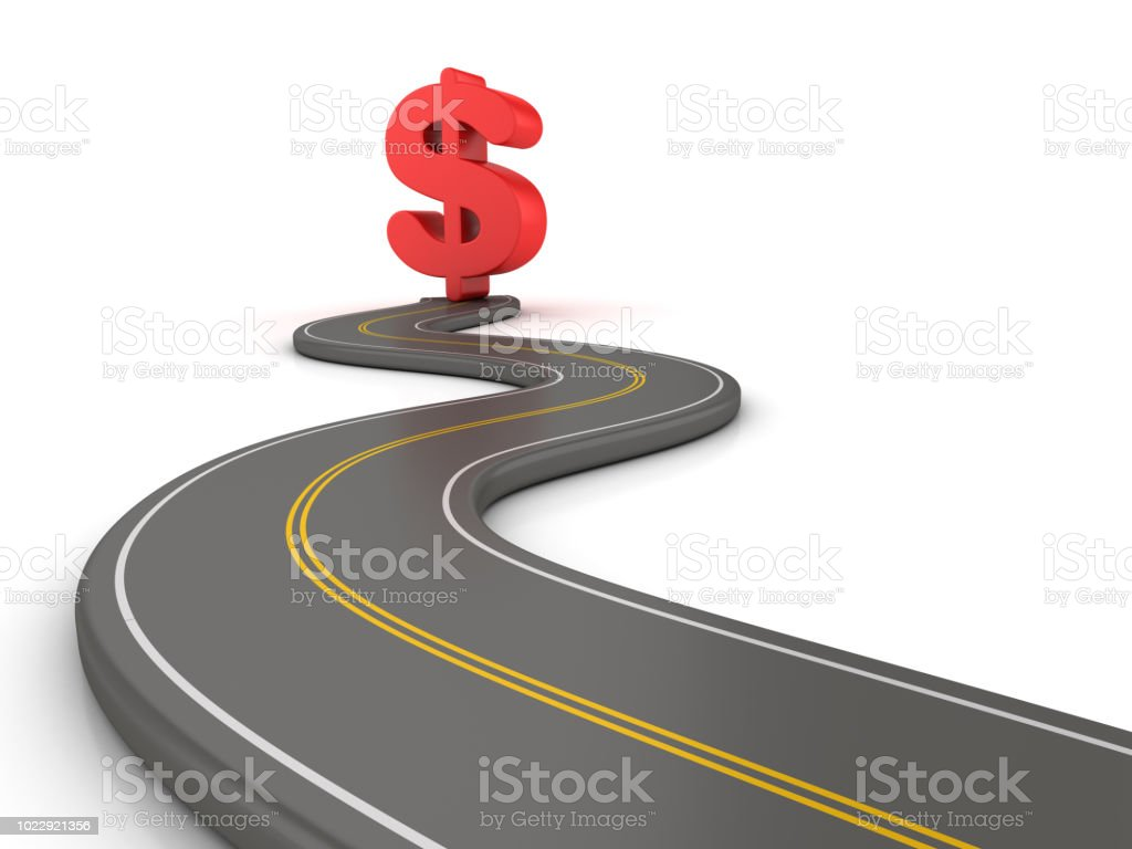 Winding 3D Road with Dollar Sign - 3D Rendering stock photo