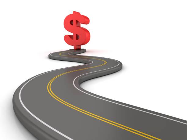 Kurvenreiche Straße 3D mit Dollarzeichen - 3D Rendering – Foto