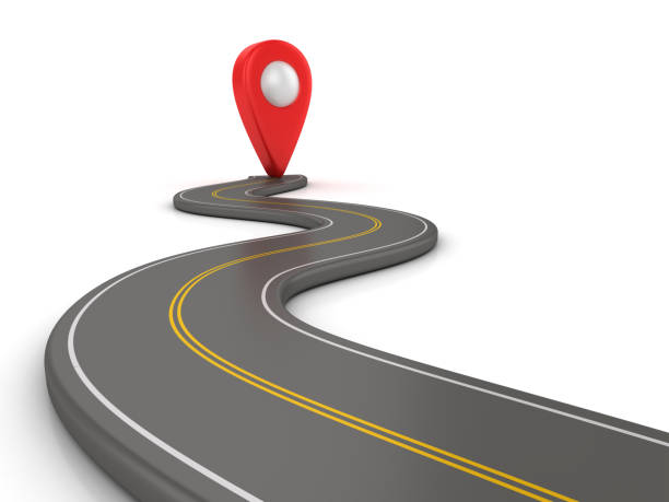Kurvenreiche Straße 3D mit GPS-Marker - 3D Rendering – Foto