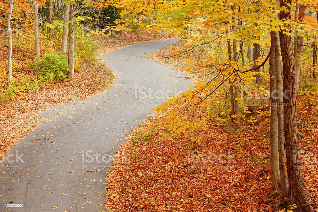 Winding alley in fall royalty-free stock photo