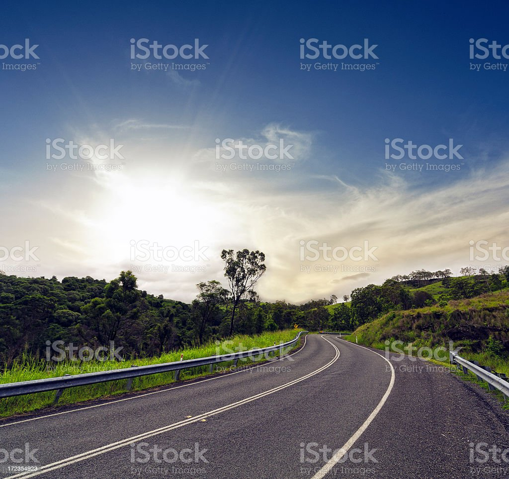 Winding asphalt road heading towards the bushes royalty-free stock photo