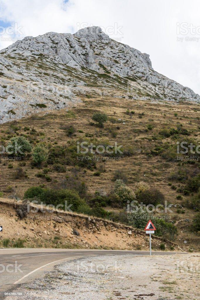 Winding asphalt road in Spain royalty-free stock photo