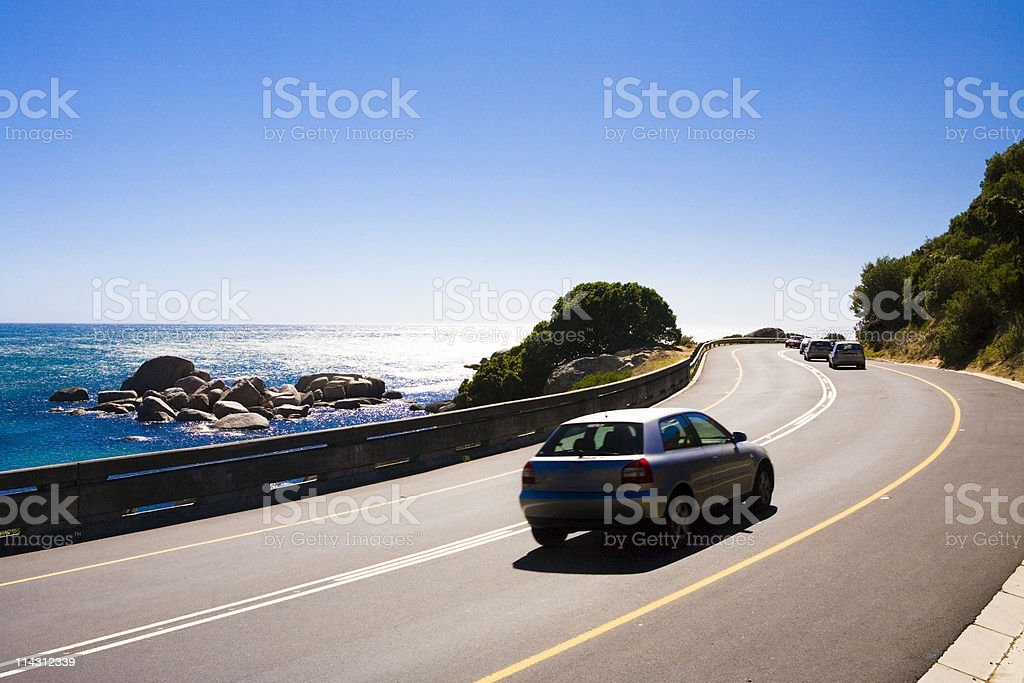 Winding coast road stock photo