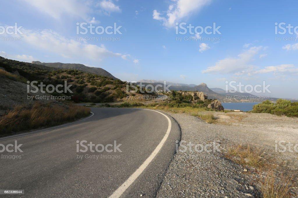 Winding coastal road stock photo