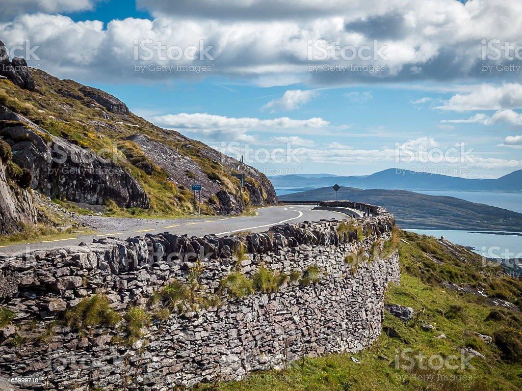Winding Cobblestone Road to Kerry, Ireland stock photo
