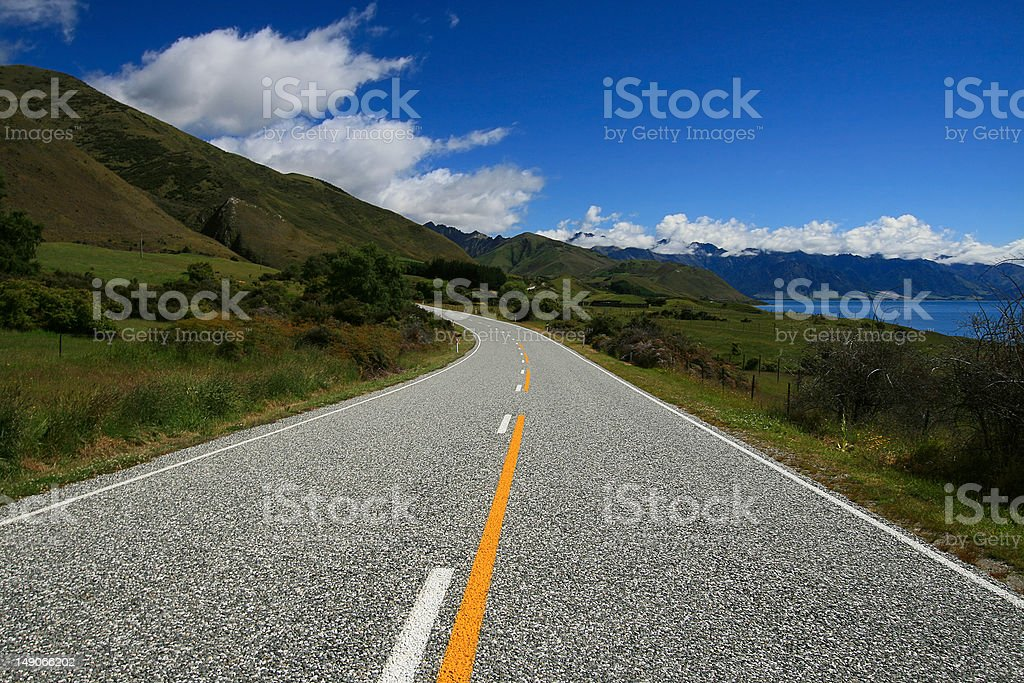 Winding Country Road New Zealand royalty-free stock photo