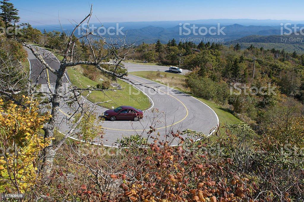 winding curve at blue ridge parkway stock photo