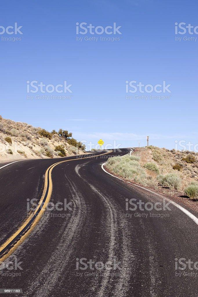Winding desert road in Nevada royalty-free stock photo
