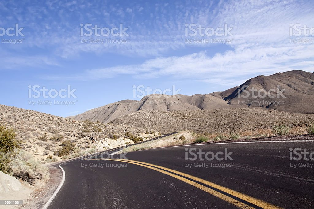 Winding desert road in Nevada royalty-free stock photo