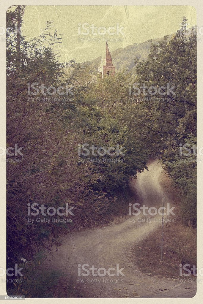 Winding Dirt Road in Italy - Vintage Postcard stock photo