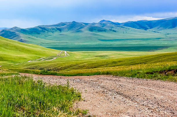 Winding dirt track in Mongolian steppe Winding dirt track through lush rolling hills of Central Mongolian steppe mongolian culture stock pictures, royalty-free photos & images
