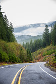 Winding road down a heavily forested landscape, mountain in the fog