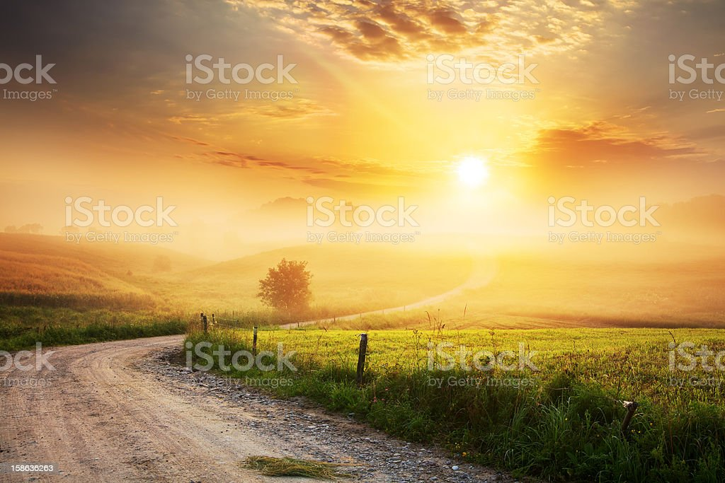 Winding Farm Road through Foggy Landscape stock photo