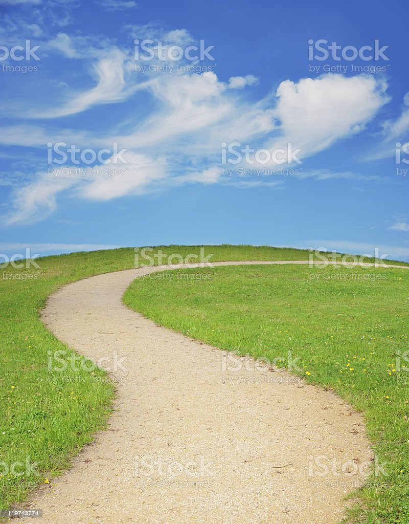 Winding footpath stock photo