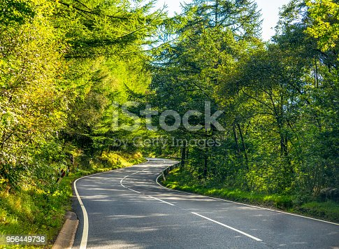 An S bend on a winding section of country road in the UK.