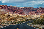 Winding highway and mountains, road trip, Valley of Fire State Park