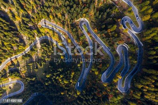 istock Winding Maloja Pass, Swiss Alps, Aerial View 1181495168