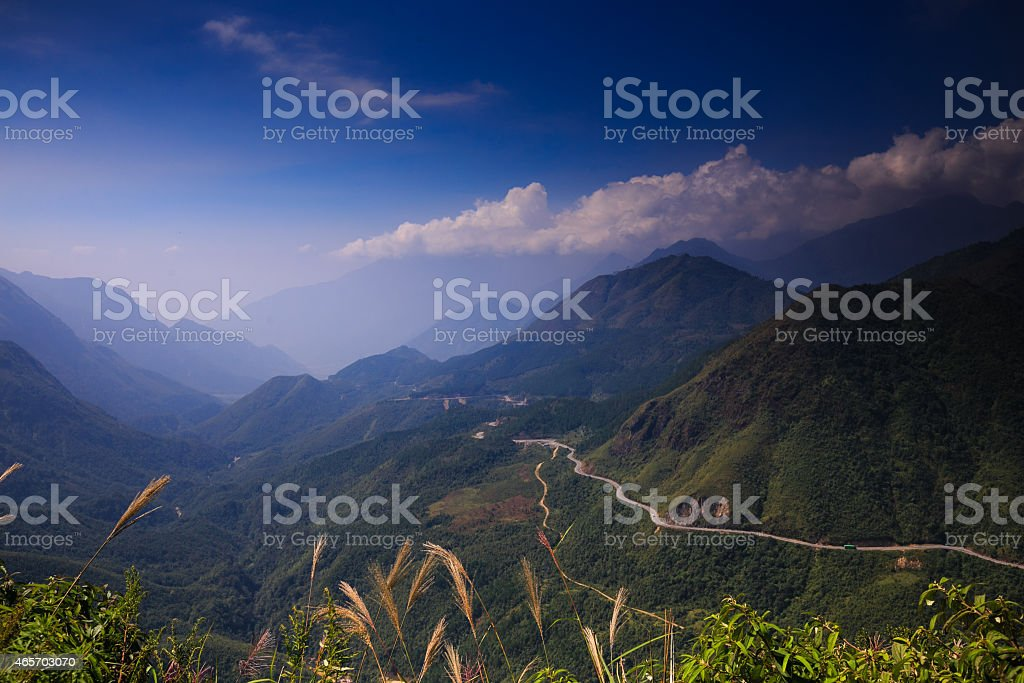 Winding mountain road in Ha Giang province. Vietnam stock photo