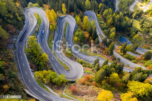 Aerial view of Maloja Pass in autumn, Graubunden Canton, Switzerland.