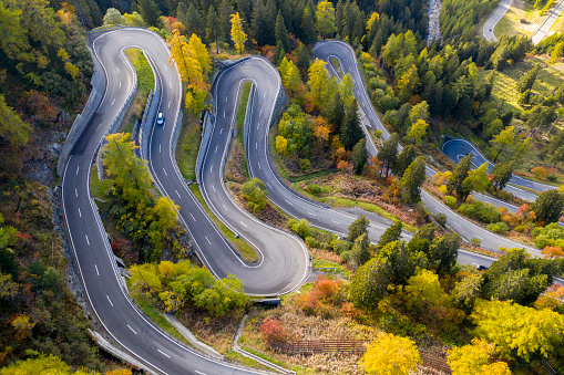 Winding Mountain Road, Maloja Pass, Swiss Alps