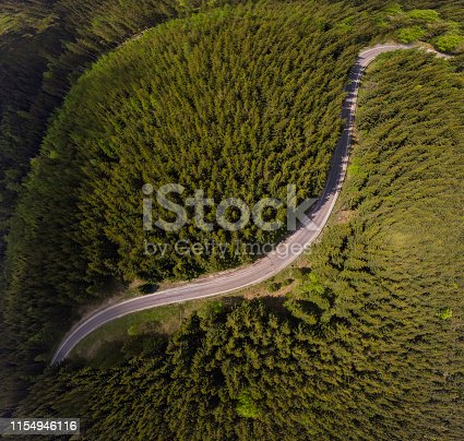 aerial view of the mountain road in a green forest