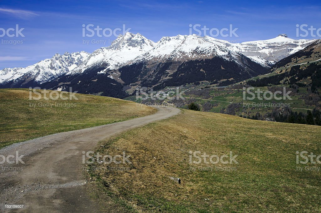 Winding Path in the Alps stock photo